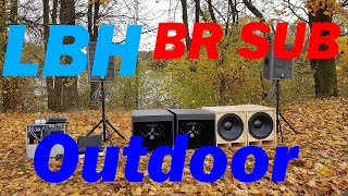 LBH118 VS BR-Sub OUTDOOR Vergleich   FP 10000q PA Anlage OUTDOOR-FUN Stromaufnahme am 5,5KW Aggregat