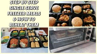 STEP BY STEP SINGLE SERVE FREEZER MEALS & HOW TO REHEAT THEM