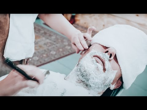 Relaxing Shave from female barber (ASMR - No Talking - Nomad Barber - Part 3)