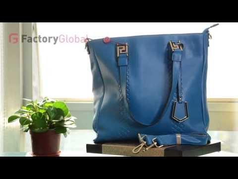 FGO-BAG-201312-5129-blue New style top grade cowskin lattice lady handbag shoulder bag,blue