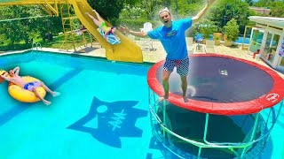We Built a Backyard Trampoline Waterpark!!