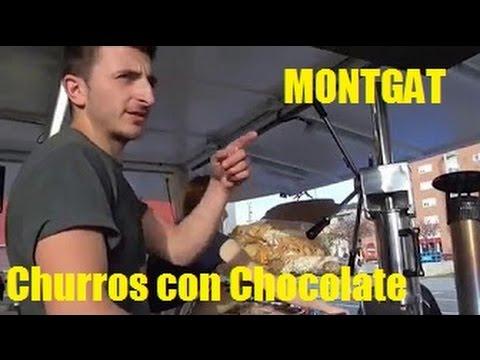 Churros con chocolate y mi pueblo MONTGAT, catalunya, España