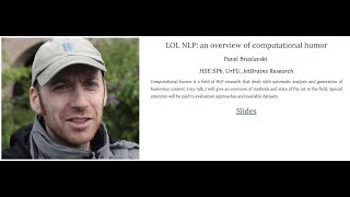 Pavel Braslavski -- LOL NLP: An Overview Of Computational Humor