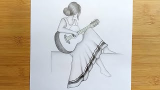 How To Draw A Girl With Guitar For Beginners Step By Step // Pencil Sketch Tutorial.