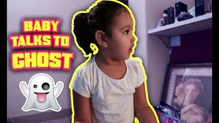 BABY TALKS TO A GHOST!!