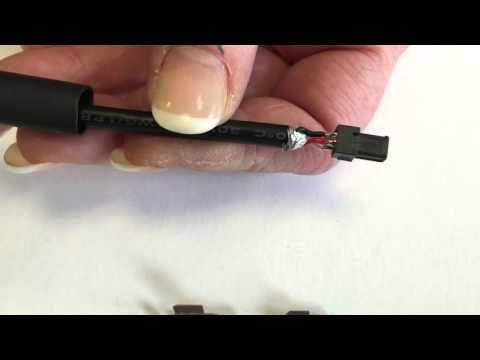 Montageanleitung-123: Mini USB-Stecker 4 polig, Kontakte vergoldet, mit Zugentlastung
