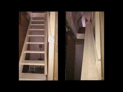 Изготовление откидной лестницы /Как сделать лестницу / ступенька48