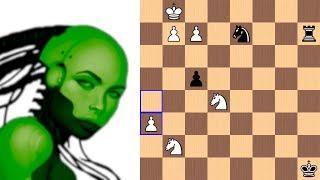 An artistic endgame by Leela Chess Zero against a Grandmaster (knight odds game)