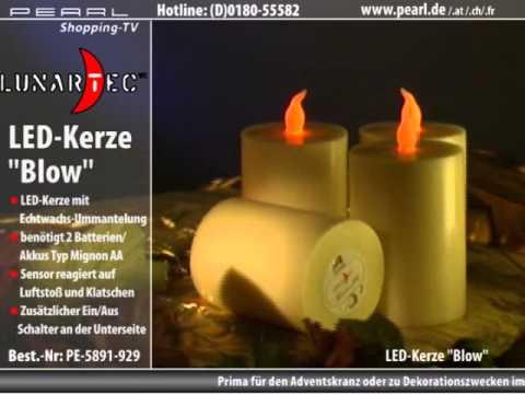"""Lunartec Aus-/Anblasbare LED-Kerze """"Blow"""" Echtwachs 10 cm"""