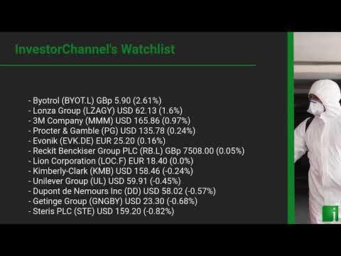 InvestorChannel's Disinfection Watchlist Update for Thursday, August 13, 2020, 16:31 EST