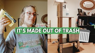 HOW TO BUILD A CAT TREE | DIY Cat Tree For Free (completely Upcycled Cat Tree)