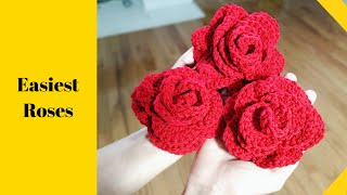 Crochet Roses For Beginners - 3 Easy Rows!