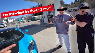 2 CRAZY GUYS ATTACK FERRARI OWNER AT  GAS STATION! *DAUGHTER HIDES IN CAR*
