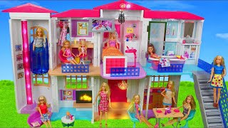 Barbie Dolls: Hello Dreamhouse Dollhouse w/ Kitchen, Bathroom & Bedroom Doll Toys Play for Kids