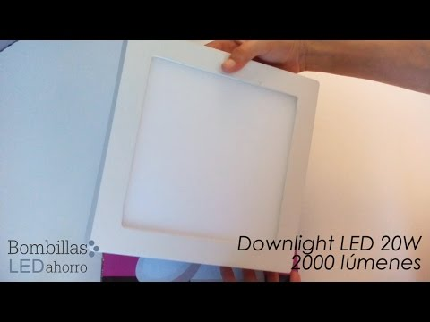 Downlight LED cuadrado de 20w y 2000 lúmenes