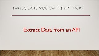 Extract data from an API Python