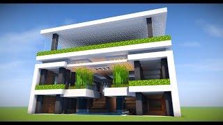 Minecraft Big Modern House Mansion Tutorial How To Make Modern House 2017 Minecraftvideos Tv