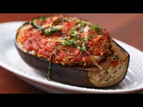 Vegan Quinoa Eggplant Parm Boat