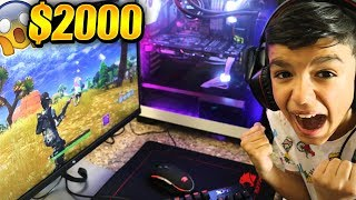 Surprising Little Brother With NEW Fortnite Gaming PC! HE FREAKS OUT!