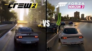The Crew 2 vs Forza Horizon 3 | Gameplay, Graphics & Sound Comparison! Mazda RX-7! (1080p60fps)