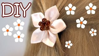 DIY Easy Kanzashi Flower Tutorial - How To Make 5 Petals Ribbon Flower Hair Ornament
