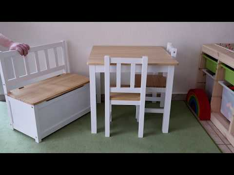 Hochwertig! Impag Kinder Sitzgruppe (Tisch, Stühle & Sitzbank) aus nordischer Kiefer!