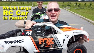 Which Large RC Car is Faster? Traxxas UDR or Losi Super Baja Rey?  Speed Test