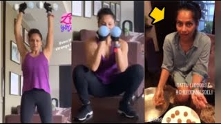 Bipasha Basu WORKOUT After Eating Plate Full Of Ladoos At Home