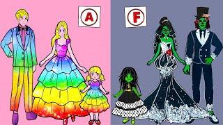 Paper Dolls Dress Up - Wedding Girl Zombie & Boy Costume Dress Handmade - Barbie Story & Crafts