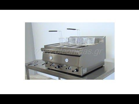 Φριτέζα Αερίου Διπλή 8 + 8 Lt - Gas Deep Double Fryer 8 + 8 Lt