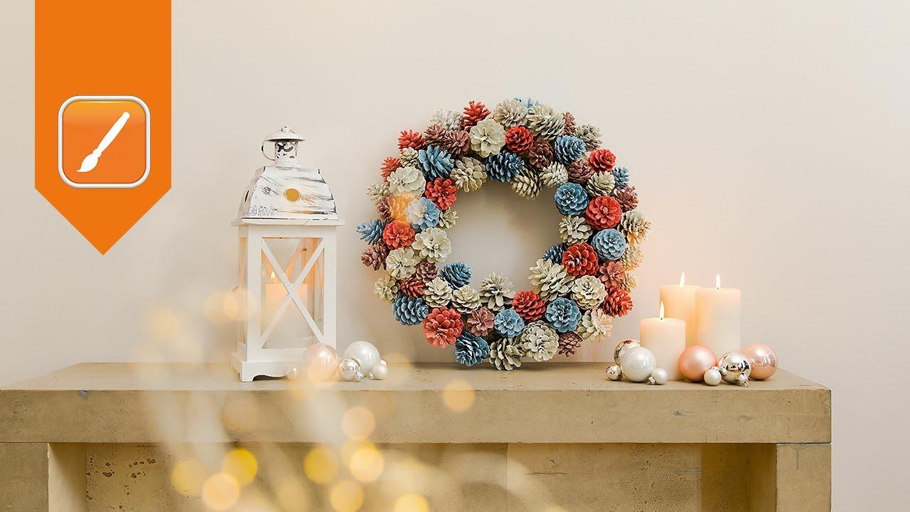 Weihnachtsdeko Basteln Türkranz Aus Tannenzapfen Obi