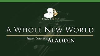 ZAYN, Zhavia Ward   A Whole New World (End Title) Aladdin   LOWER Key (Piano Karaoke  Sing Along)
