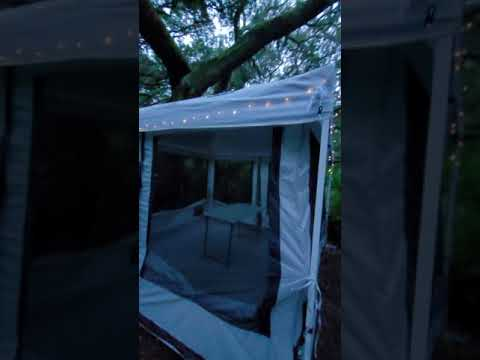 camp site 1 set up with solar string light.