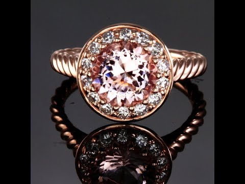 Morganite and Diamond Ring in 14kt. Rose Gold