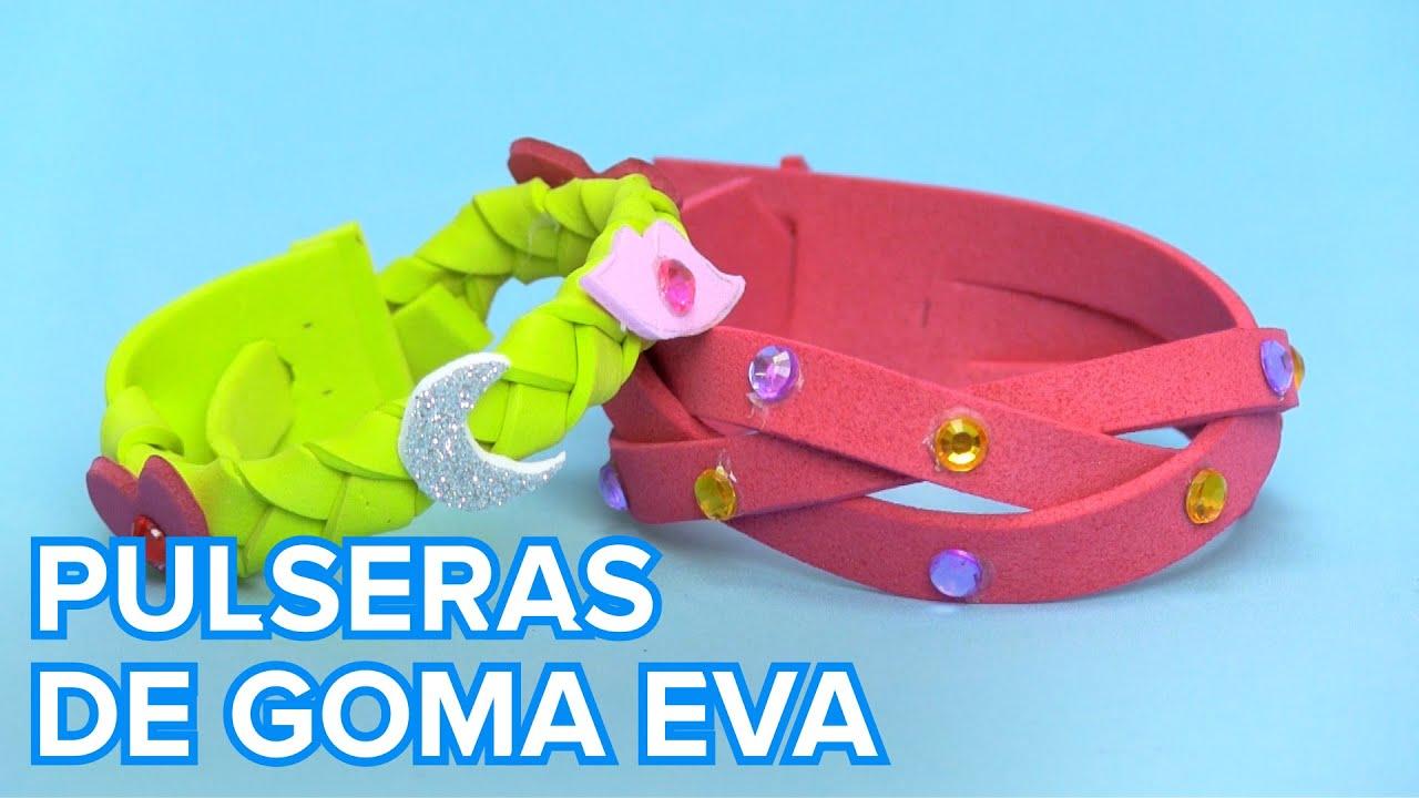 Cómo hacer pulseras de goma eva paso a paso | Manualidades infantiles