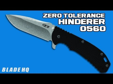 "Zero Tolerance 0560 Knife Hinderer Black G-10 Flipper (3.75"" Stonewash) ZT"