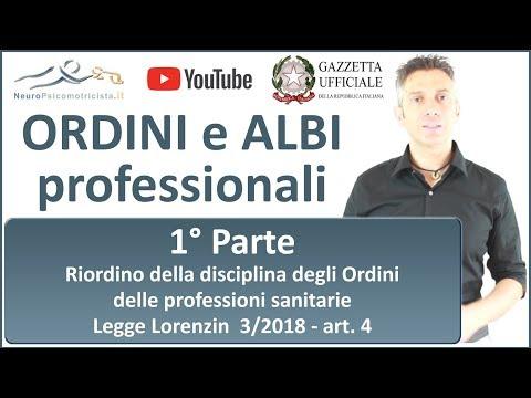 ORDINI e ALBI - 1° PARTE - Ordini delle professioni sanitarie - Legge Lorenzin