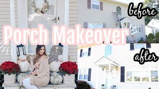 DIY FRONT PORCH MAKEOVER ON A BUDGET | FALL CLEAN UP 2020 | DECORATE WITH ME FOR FALL