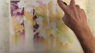 Autumn In The Trees Narrated Step By Step Negative Painting Tutorial