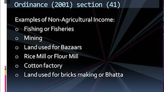 Agricultural Income income tax ordinance 2001