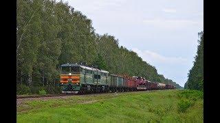 Тепловоз 2ТЭ10У-0277 с грузовым поездом на Могилёв.
