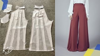 WIDE LEG PALAZZO PANTS PATTERN TUTORIAL | SLASH AND SPREAD METHOD