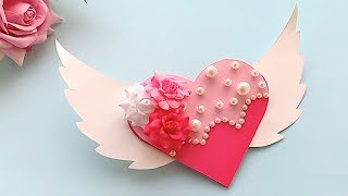 Heart With Wings Birthday Gretting Cards//Handmade Easy Card Tutorial