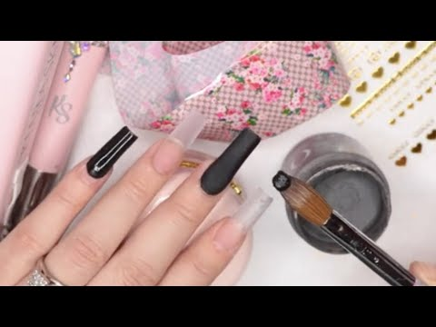 Diseño de Uñas Gucci con Tonos Negro y Foil 😍