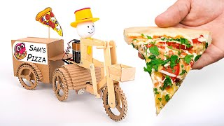 Funny Cardboard Robot That Delivers Pizza