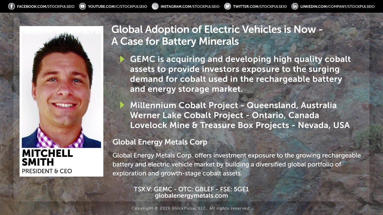 Global Adoption of Electric Vehicles is Now - A Case for Battery Minerals: Global Energy Metals Corp