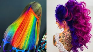 Rainbow Neon Hair Color. Best Hair Colorful Transformation Compilation 2020