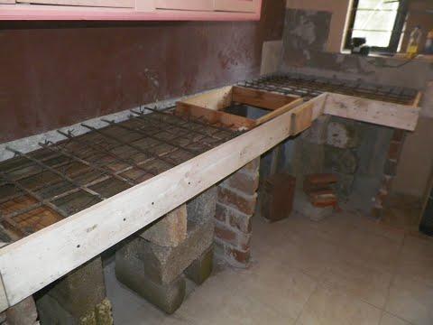 Barra de cocina, en porcelanato. y cemento empotrada. remodelacion de cocina (parte 1)  / DIY