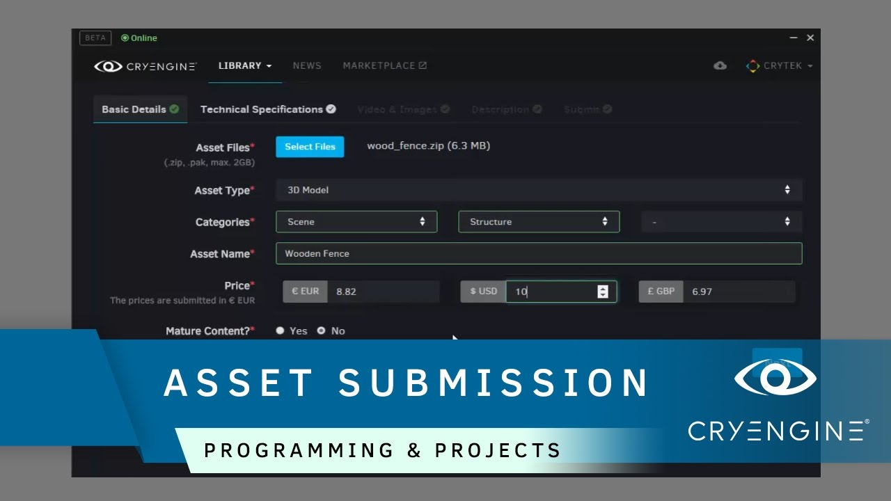 How to submit your assets to the CRYENGINE Marketplace | Programming & Projects