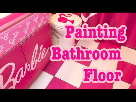 [DIY] Painting Bathroom Floor♡AZUSA BARBIE